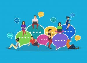 Engaging with your audience - speech bubbles for comment and reply concept flat vector illustration of young people using mobile smartphone and tablets for texting and communicating on networks. Guys and women sitting on bubbles