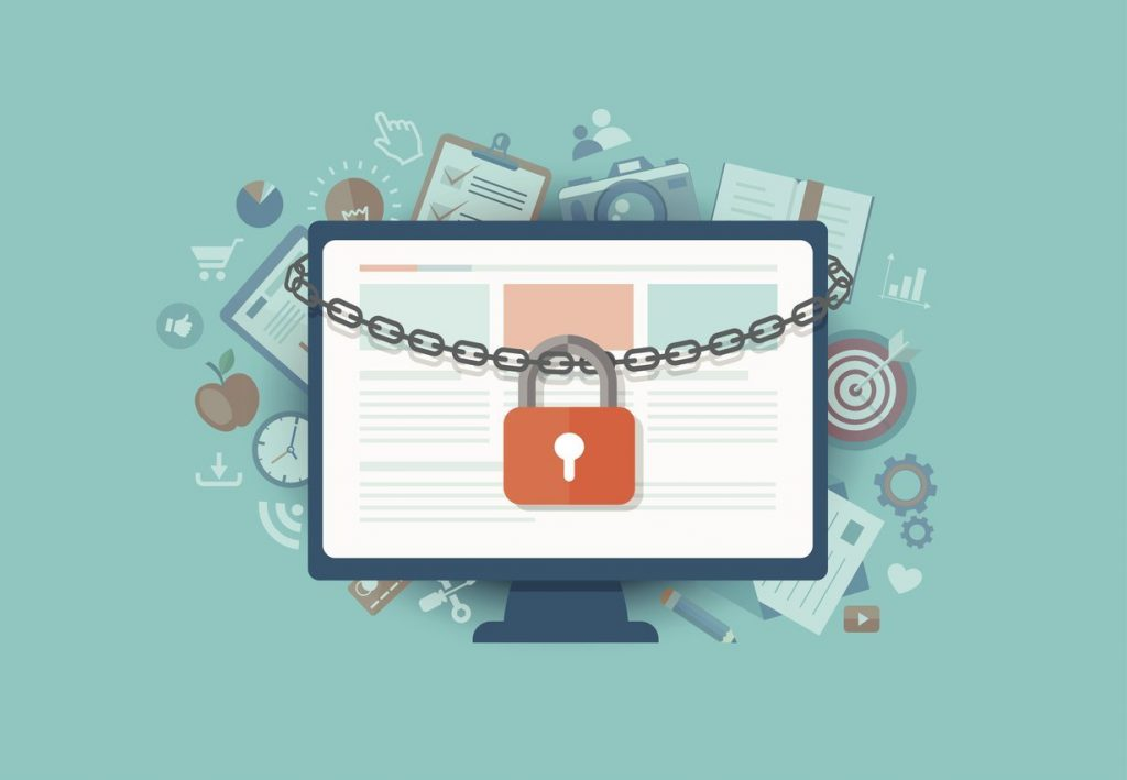 Flat illustration of security center. Lock with chain around laptop.
