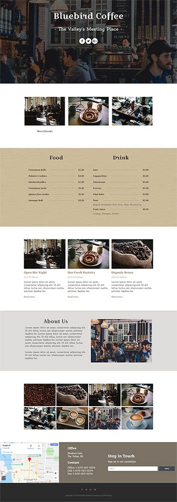 Bluebird Coffee full home page