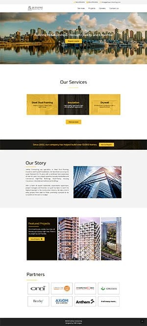 Jetline Consulting Website in a Day Home Page Layout